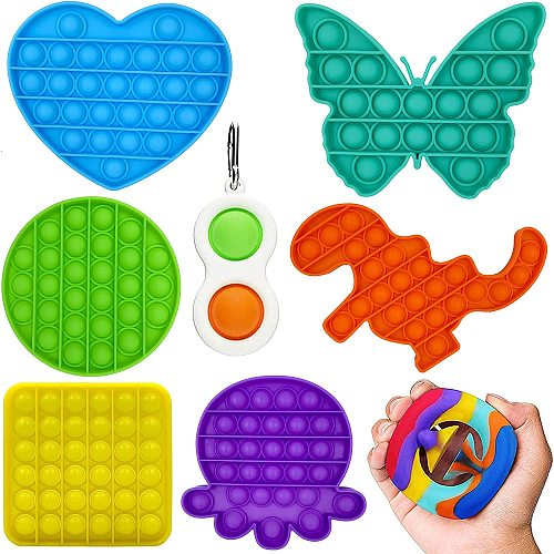 8 Packs Push Pop Bubble Hot Sales Sensory Fidget, Autism Special Needs Stress Relief Silicone Pressure Relieving, Squeeze for Kids Children Adults