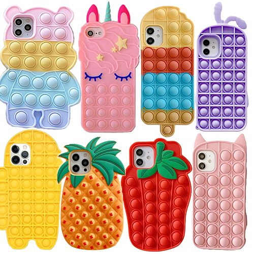Colorful Heart Pop It Iphone Case Funda 12 Mini 11 Pro Max 2020 SE XR X XS 7 8 Plus Soft Silicone Celuar Shell Antistress Cover