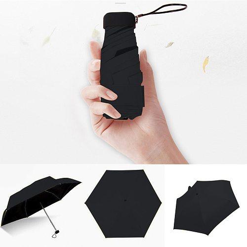 Umbrella Sun Rain Women Flat Lightweight Umbrella Parasol Folding Sun Umbrella Mini Umbrella Small Size Easily Store parasol