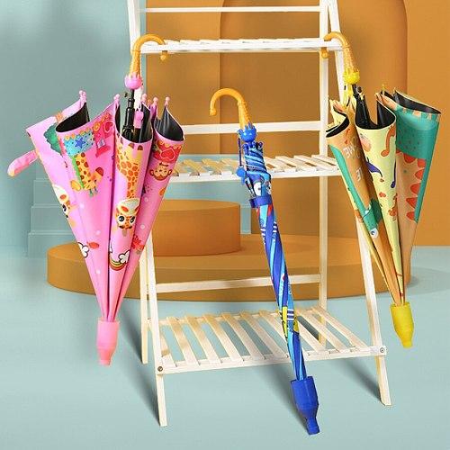 New student boys and girls cartoon cute umbrella animal design long handle sunshade umbrellaA754