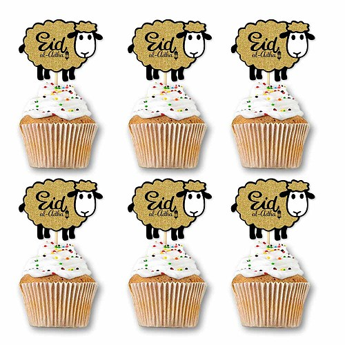 24pcs Gold Cupcake Topper for Traditional Muslin Sheep DIY  Happy Eid Al Adha Banner Party Supplies