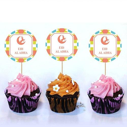 10pcs Gold Cupcake Topper for Eid Al Adha Banner DIY Eid Decorations Happy Muslim Sheep Festival Treat Pick Party Supplies
