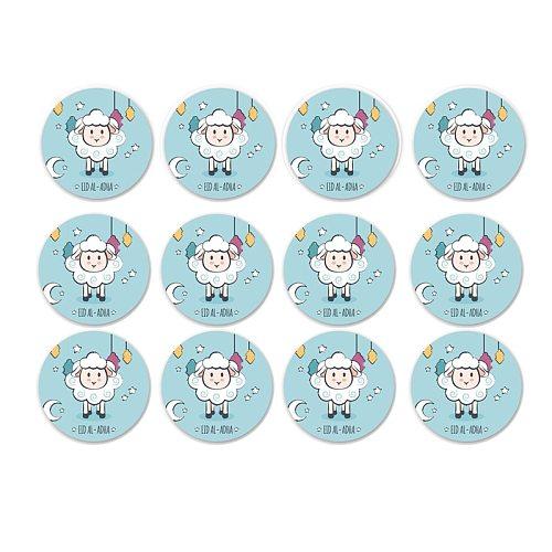 Muslim Eid Adha Sheep Festival 4cm Sealing Sticker 120pcs EID ALADHA Mubarak Gift Box Candy Carton Decoration Supplies