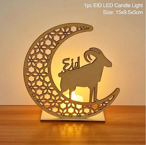 EID Mubarak Wooden Pendant with LED Candles Light Ramadan Decorations For Home Islamic Muslim Party Eid Decor Kareem Ramadan