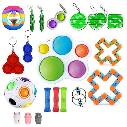 20-25 Pack New Anti stress Cheap Fidget Toys Pack Sensory Fidjet Toys For Kids Adults Autism Special Needs Stress Reliever Fidget Toy Pop it Pack
