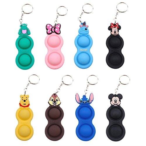 Disney Lilo & Stitch Push Pops It Stitch Key Chain Simple Dimple Rab Fidget Toys Pack Squishy Stress Ball Kids Dimple Toy