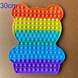 30cm Big Size Bear Fidget Toy Push Pops Simple Dimple Toy Sensory Rainbow Pop It Bubble Fidget Toys Adult Stress Relief Toy