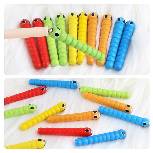 1 Wand + 5 Worms for Catch Worm Game Strawberry Grasping Baby Wooden Toys Accessories Montessori Educational Wooden Toys