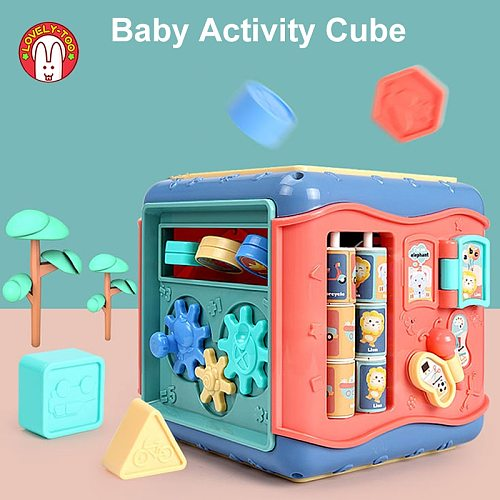 Baby Toys Activity Play Cube Music Instuments Montessori Shape Match Infant Development Educational Box For Kids 13 24 Months