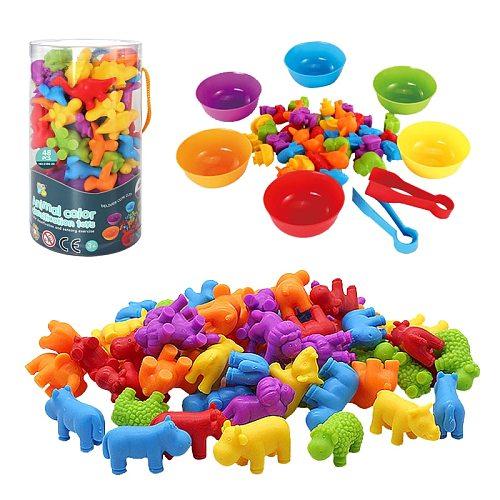 36pcs Kid Rainbow Matching Game Animal Cognition Rainbow Color Sort Fine Motor Training  Montessori  Sensory Education Puzzle Toy Gift
