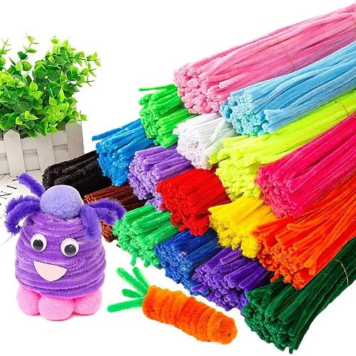 100pcs Kids Creative Colorful Diy Plush Chenille Sticks Chenille Stem Pipe Cleaner Stems Educational Toys Crafts For Children