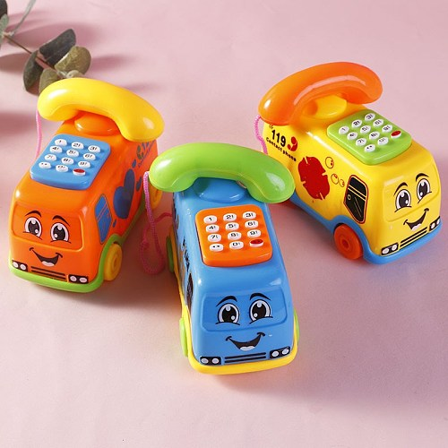 1pcs Baby Toys Music Cartoon Bus Phone Educational Developmental Kids Toy Gift Children Early Learning Exercise Baby Kids Game