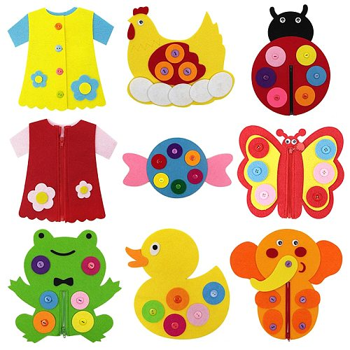 Children's Early Education Life Common Sense Learning DIY Educational Toys Felt Cloth Learning Button Buckle Zipper Teaching Toy