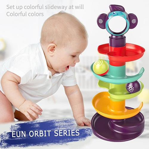Baby Toys Building Block Track Turn Music Roll Ball Montessori Educational Toys Newborn Rolling Ball Pile Tower Puzzle Toy