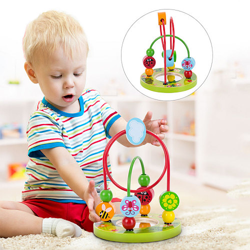 Montessori Baby Toys Wooden Roller Coaster Bead Maze Toddler Early Learning Educational Puzzle Math Toy for Children 1 2 3 Years