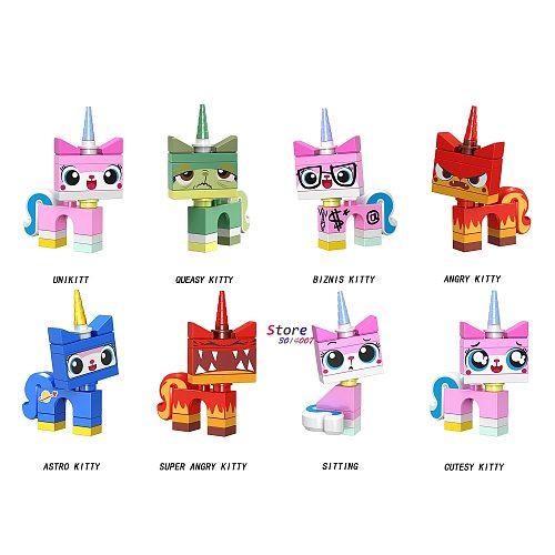 Single Building Blocks Cartoon Movie  Bricks Unikitty Super Angry Astro Queasy Biznis Unicorn Kitty toys for children