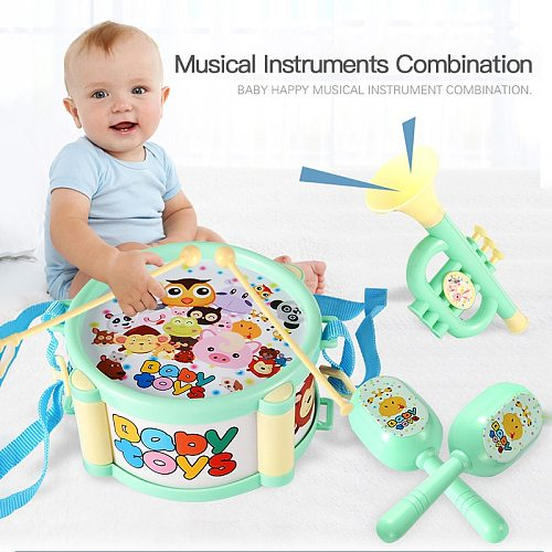 1 Set Boy Girl Musical Percussion Instruments Hand Bell Drum Toy Kit Early Learning Educational Toys For Kids Baby Children Gift