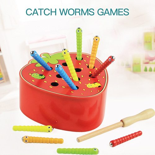 3D Montessori Wooden Toys Caterpillar Eats The Apple Kids Catch Worms Matching Puzzle Games Early Education Interactive Toy