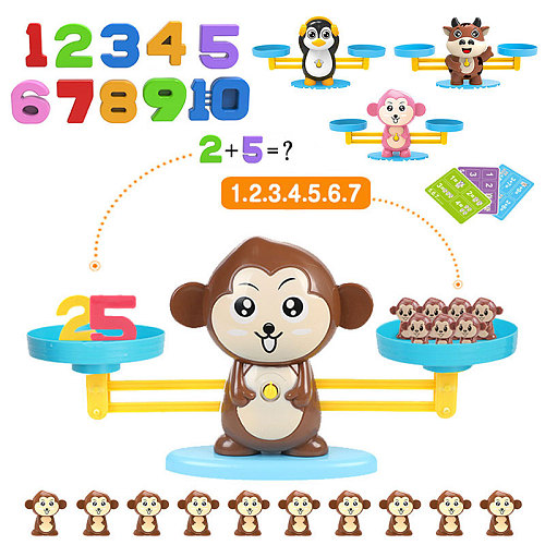 Montessori Weight Animal Balance Math Toys Arithmetic Learning Monkey Animal Balance Scale Number Game Learning Toys For Kids