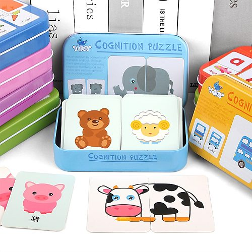 Kids Montessori Puzzle Toys Animals Fruit Graph Match Card Game Early Educational Materials Double-sided Puzzle Toy For Children