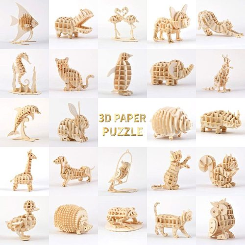 Laser Cutting 3D Paper Puzzle Toys Small Animals Marine Organism Assembly Model Kits Desk Decoration Puzzle Toys For Kids
