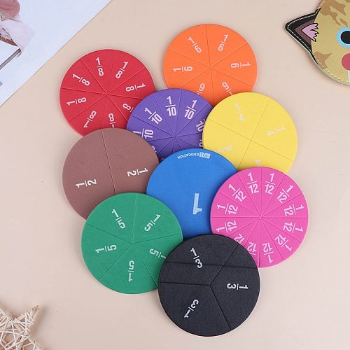 9/12 pcs Early Education Learning Counting Math Toy Round Rainbow Magnetic Fraction Tiles Early Learning Educational Toy