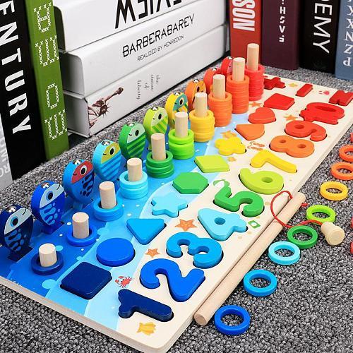 Montessori Educational Wooden Toys Children Busy Board Math Fishing Children's Wooden Preschool Montessori Toy Counting Geometry