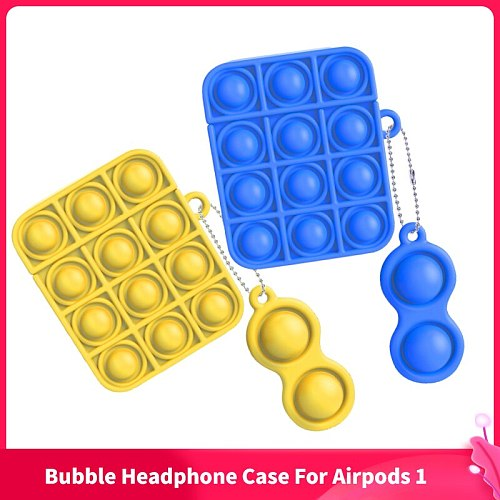 1PC Silicone Earphone Case For Airpods 1 Simple Dimple Push Bubble Pop Fidget Toys Kids Sensory Toy Adult Stress Relief Toy