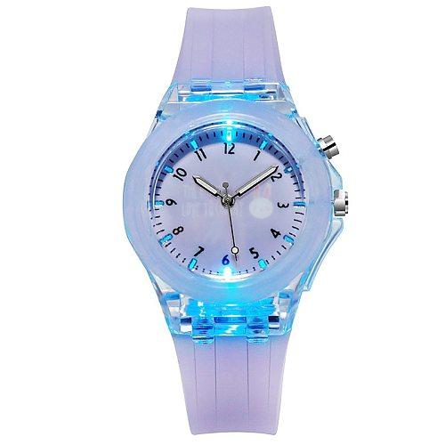 Children Watch for Girls teens Kids Luminous Cocks Wristwatch flash Silicone strap Cartoons