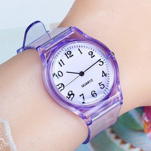 Kids watch children quartz watches wristwatch jelly for girl a boy clocks sport baby student Transparent plastic