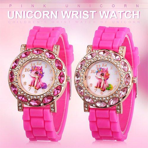 Children watch Quartz Wrist watches for Girls Cartoon Beast horse Kids Child Silicone strap Gift present Rose red