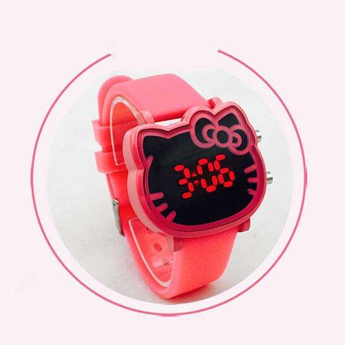 Kids Watches Children's Fashion Watch Girl Cartoon Waterproof Cute KT Cat LED Glowing Child Student Girl Electronic Watch