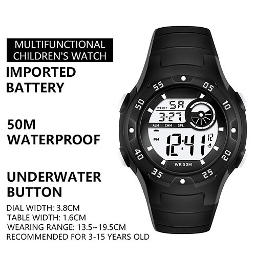 Fashion Cute Children Waterproof Alarm Clock Luminous Led Sports Multifunctional Student Electronic Watch