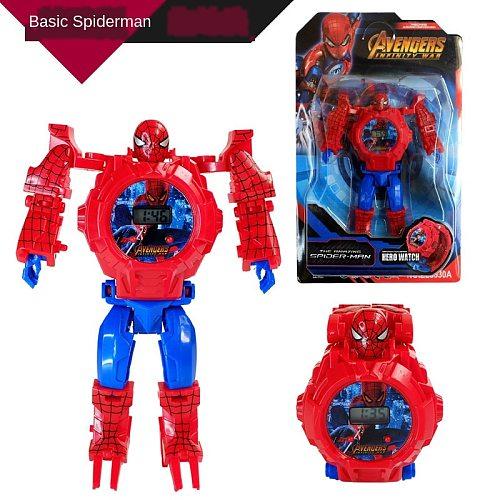Disney Marvel Spider-Man Frozen Hulk Children's watches Cartoon Deformation projection toy Electronic kids watch birthday gifts