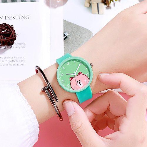 Children Watch for Girls Boys Kids Teens Cartoon Bear Silicone strap clock wristwatch new