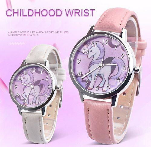 Kids watches for girls quartz wrist watch child Girl clock Cartoon horse Beast Leather metal strap Multicolor clocks