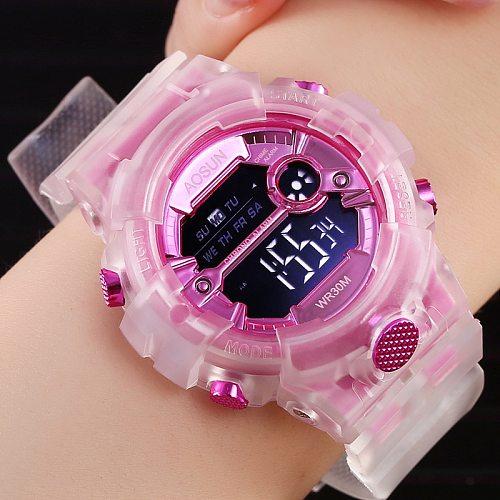 Children Sport Watch for Girls Boys Teens Kid Digital Electronic Clocks Wristwatch Transparent Jelly Waterproof Swim