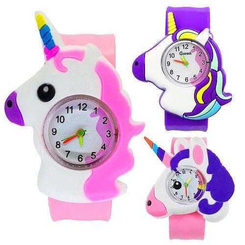 Unicorn Watch Children Toy , Pony Watch Kids Gift , Girls Boys Slap Bracelet , Kids Children Quartz Sports Watches Baby Clock