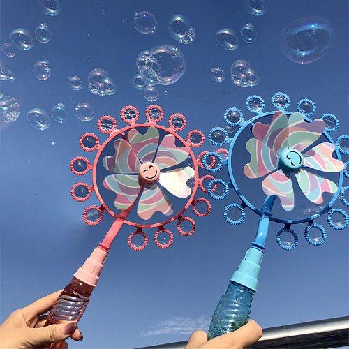 Kids Magic Wand Bubble Windmill Blower Toy Magic Soap Bubble Machine Outdoor Toy for Girl bubble gun