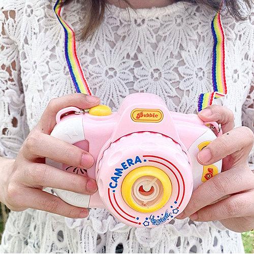 2020 Cute Camera Automatic Music Bubble Machine Gun Soap Bubble Blower Outdoor Kids Child juguetes brinquedos Toy for Kids