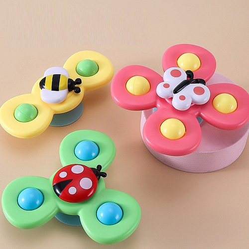 3pcs Cartoon Insect Baby Rattles For 0-12 Months Boys Girls ABS Fidget Spinner Gyro Toy Relief Stress Fingertip Toy For Kid Gift