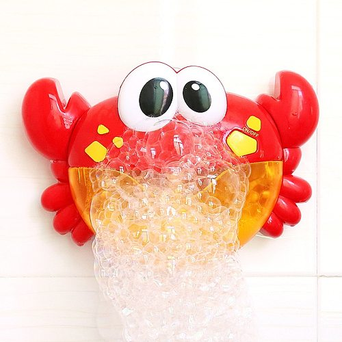 Blowing Bubble Frog&Crabs Baby Bath Toy Bubble Maker Swimming Bathtub Soap Machine Toy for Children With Music Water Toy