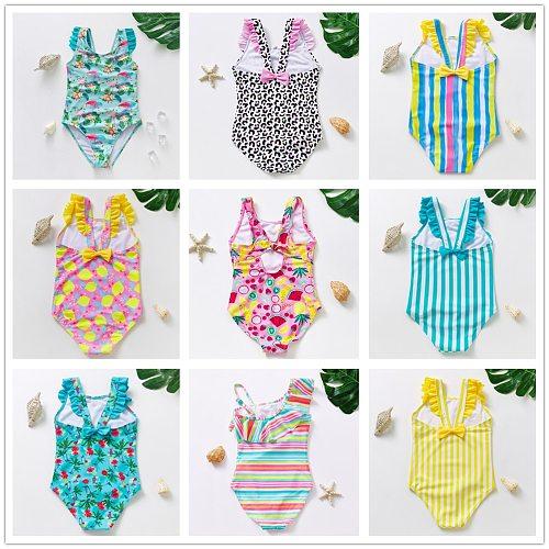 2~10Year Toddler Baby Girls Swimwear New 2021 Girls Swimwear flamingo print Children Swimwear one piece Kids Beach wear-ST246