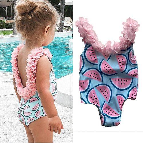Toddler Baby Girls Swimsuits Little Kids Bikini Suit Fruits Print Ruffles Swimming Beachwear Flower Children One Piece Swimwear
