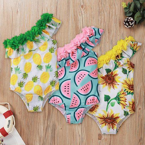 Toddler Kids Swimwear Summer Fashion Baby Girls Bikini Striped Bowknot One-piece Swimsuit Beachwear Beach Bathing Suit Biquini