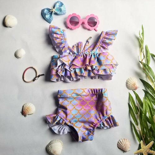 2PCS Baby Girls Mermaid Swimwear Summer Toddler Swimsuit Beachwear Bathing Swimming Costume Suit