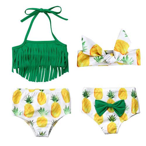 Newborn Baby Girls Tassels Swimwear 3Pcs Pineapple Baby Girl Swimwear Bathing Beachwear Swimwear Girl