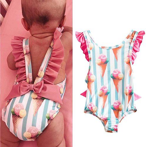 Toddler Girls Swimsuit For Kids 1-4 Year Striped Swimwear Swimming Children Backless Bikini Newborn Baby One Piece Bathing Suit