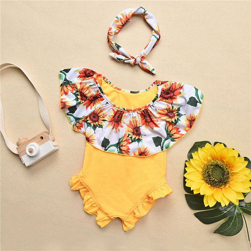 Toddler Kid Baby Girl Clothes Floral Swimsuit Swimwear Romper Bikini+Headband Outfits One-pieces 0-24M