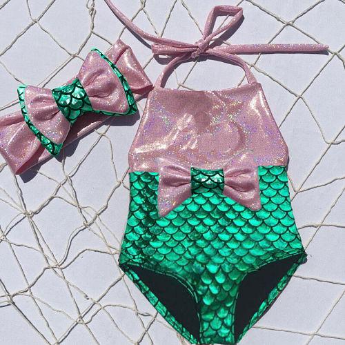 Kids Baby Girl Mermaid Swimwear One-piece Bow Bikini Swimsuit Headband Bathing Suit Beachwear Swimming Costume